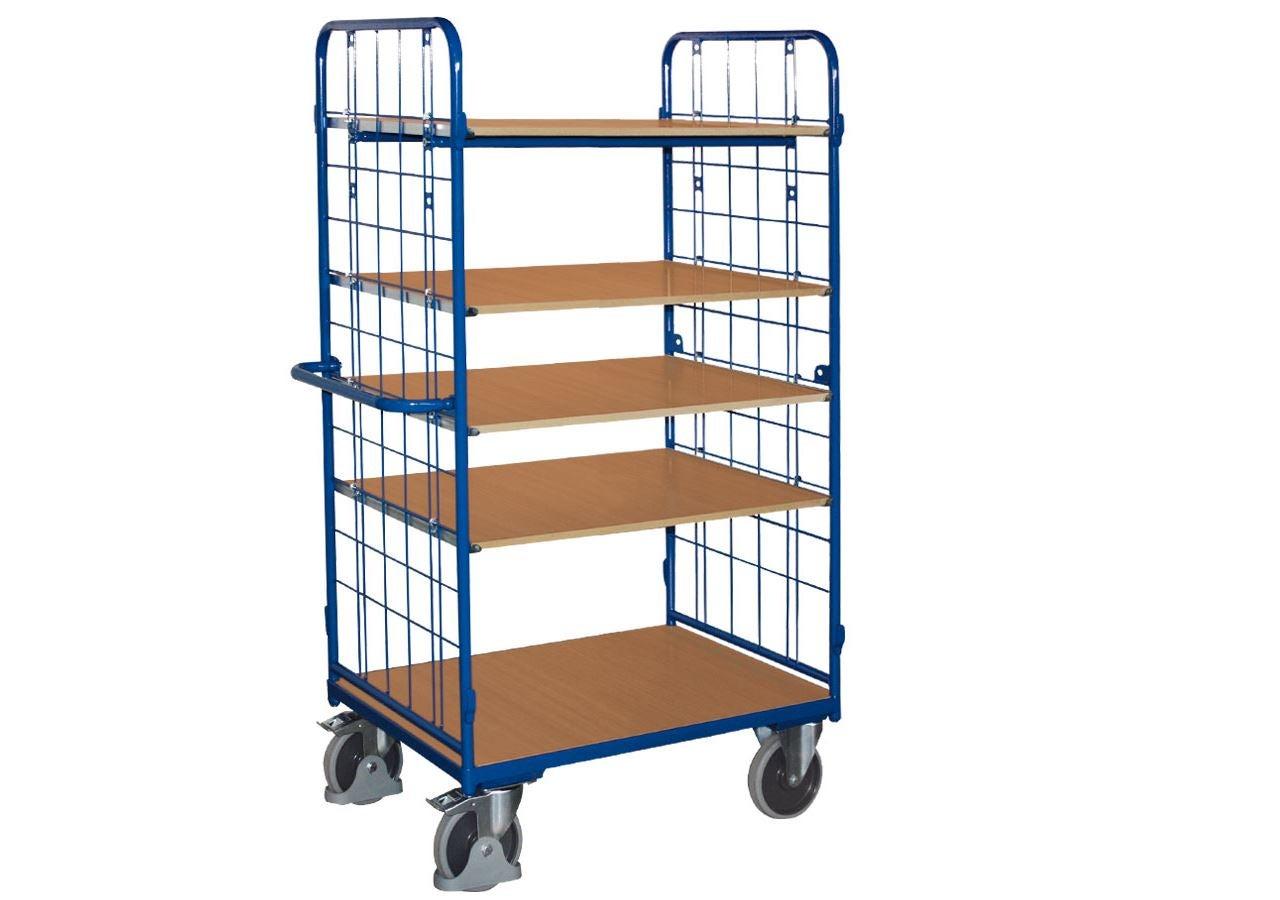 Strijkwagen: Hoge etagewagen met 2 wanden, 5 legborden
