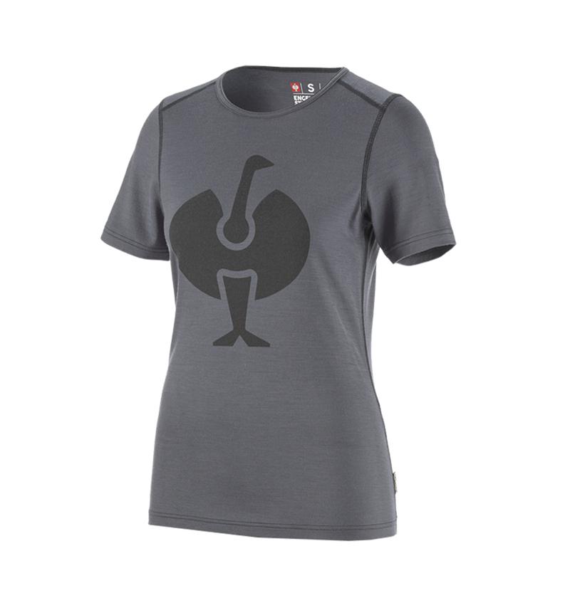 Thermo Ondergoed: e.s. T-shirt Merino, dames + cement/grafiet