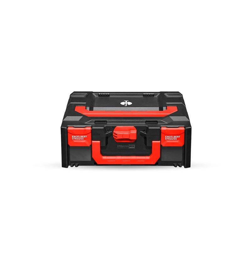 Gereedschapskoffers: STRAUSSbox 145 midi + zwart/rood