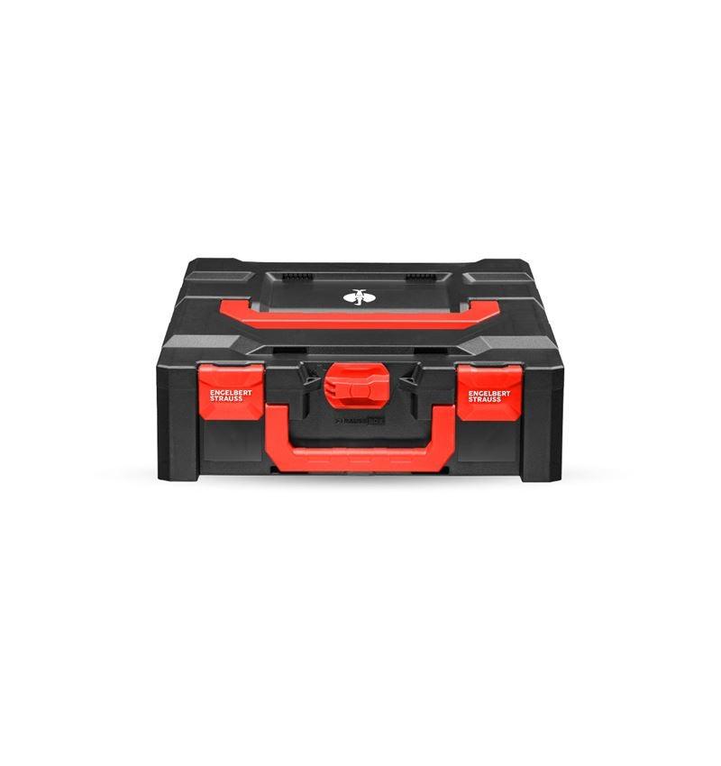 Gereedschapskoffers: STRAUSSbox 145 midi+ + zwart/rood