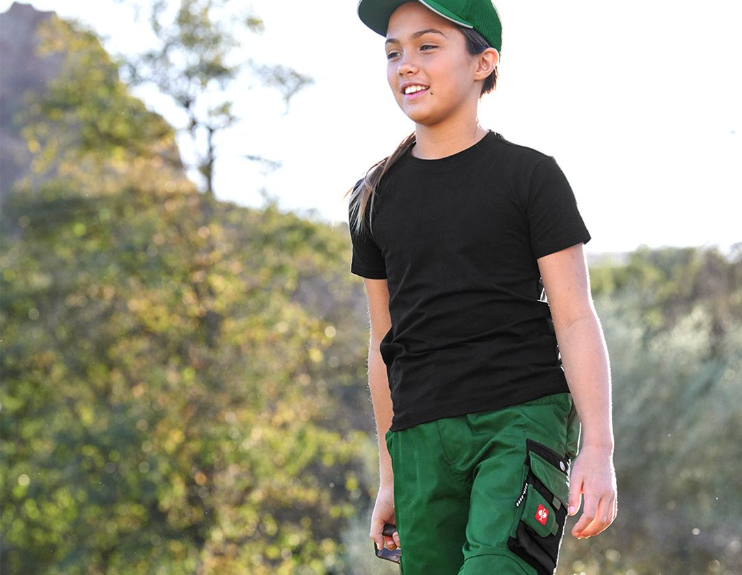 Bovenkleding: e.s. T-shirt cotton stretch, kinderen + zwart