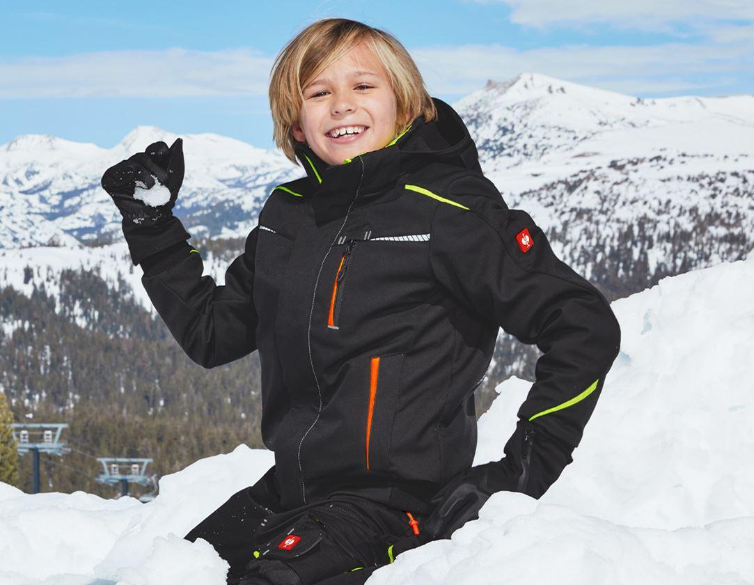 Jassen: Winter-softshelljack e.s.motion 2020, kinderen + zwart/signaalgeel/signaaloranje
