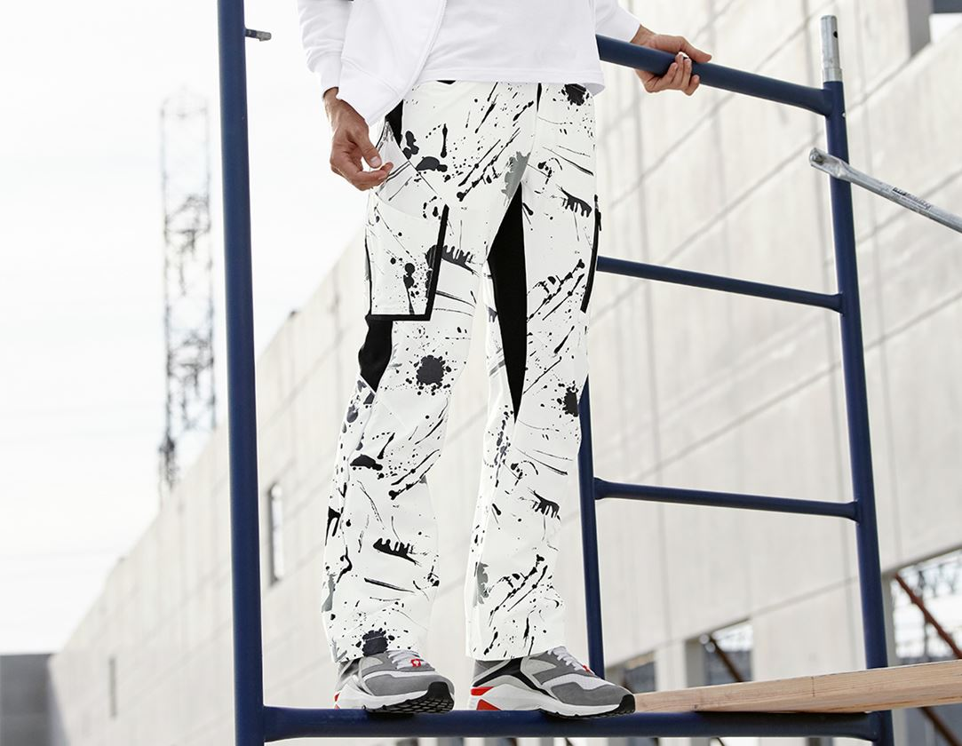 Werkbroeken: e.s. stretch-cargobroek painter + wit/zwart