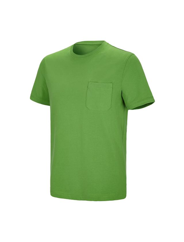 Bovenkleding: e.s. T-shirt cotton stretch Pocket + zeegroen
