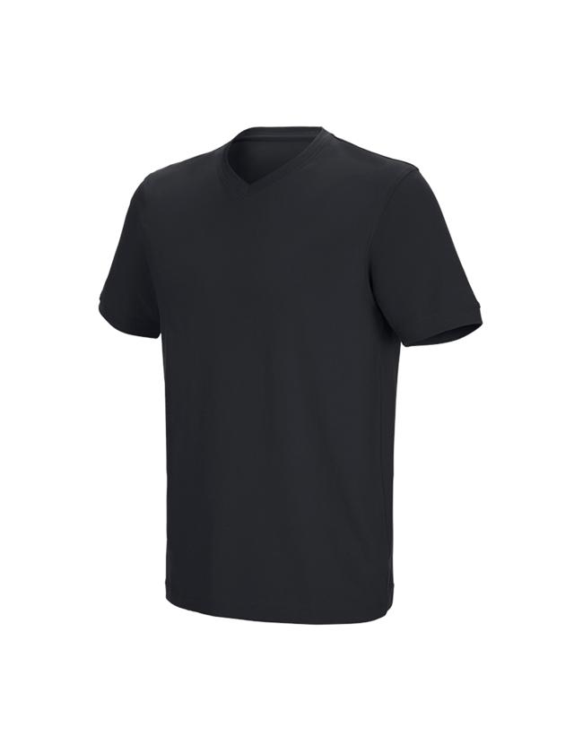 Bovenkleding: e.s. T-shirt cotton stretch V-Neck + zwart