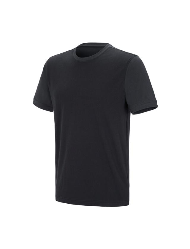 Bovenkleding: e.s. T-shirt cotton stretch bicolor + zwart/grafiet
