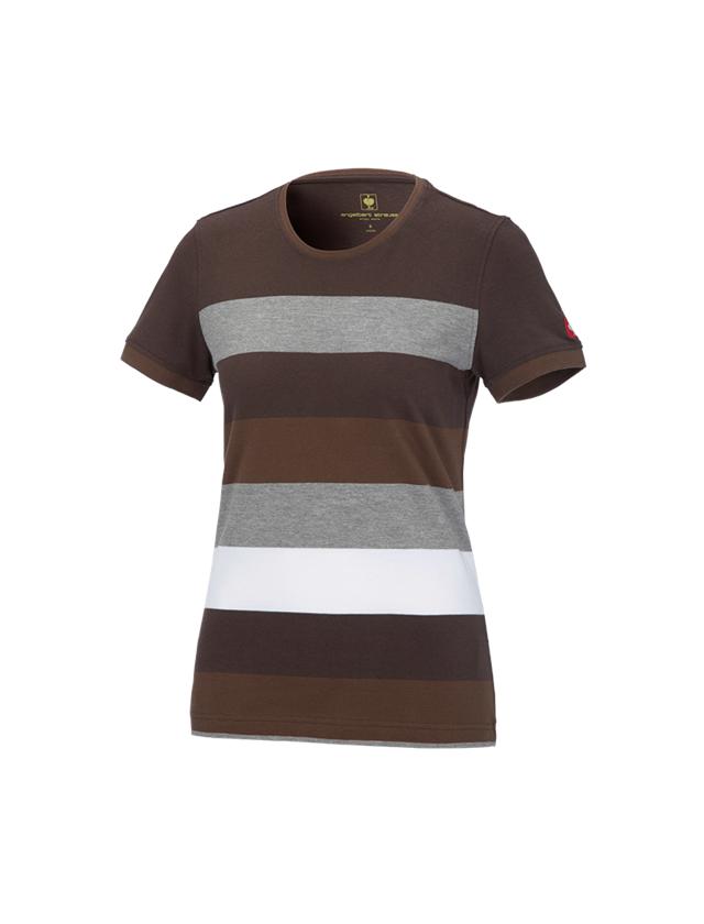 Bovenkleding: e.s. Pique-Shirt  cotton stripe, dames + kastanje/hazelnoot