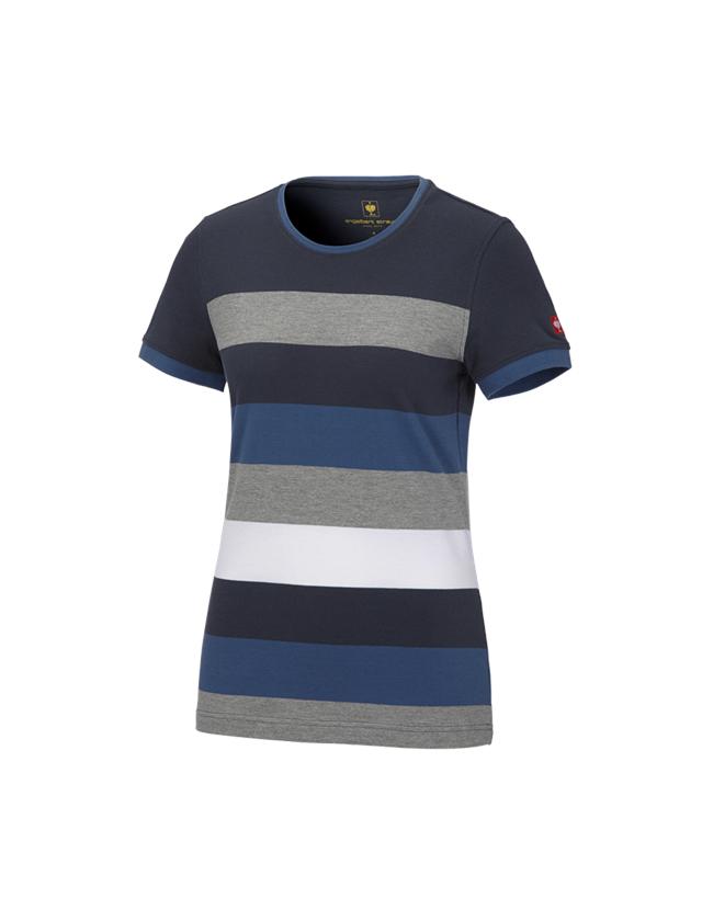 Bovenkleding: e.s. Pique-Shirt  cotton stripe, dames + pacific/kobalt