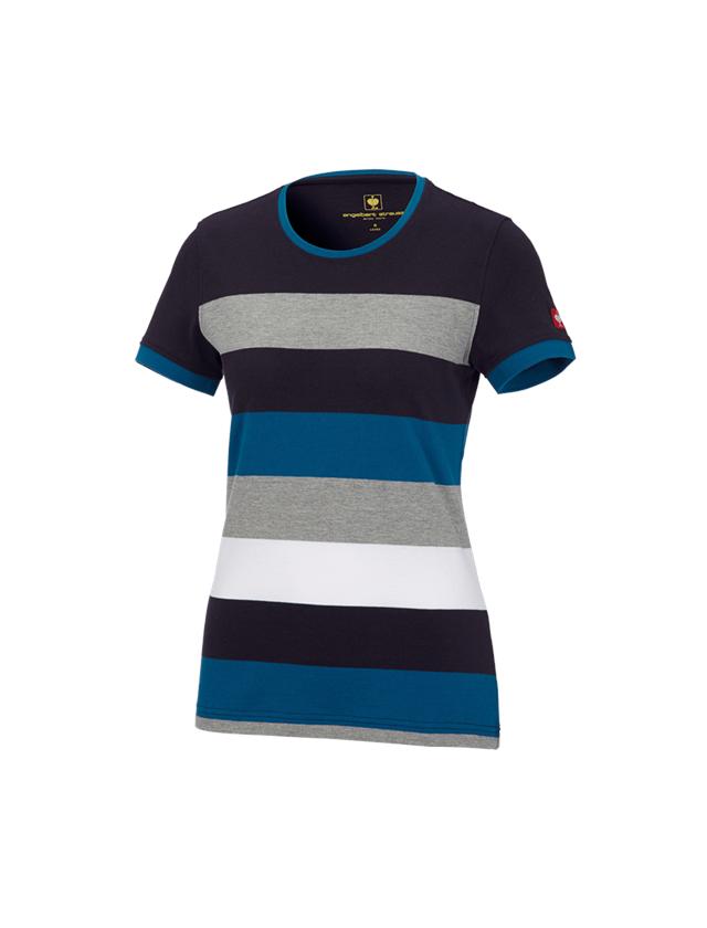 Bovenkleding: e.s. Pique-Shirt  cotton stripe, dames + donkerblauw/atoll