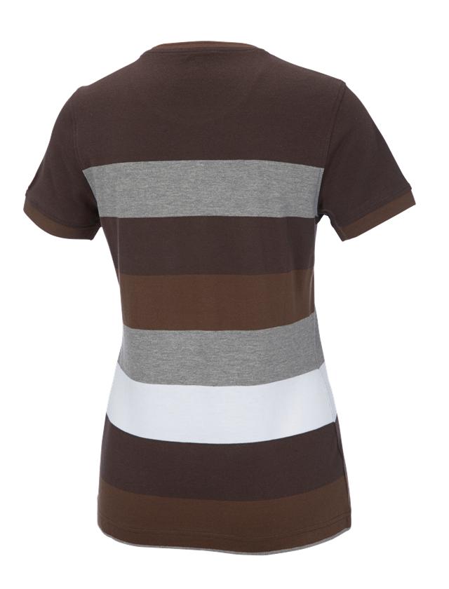Bovenkleding: e.s. Pique-Shirt  cotton stripe, dames + kastanje/hazelnoot 1