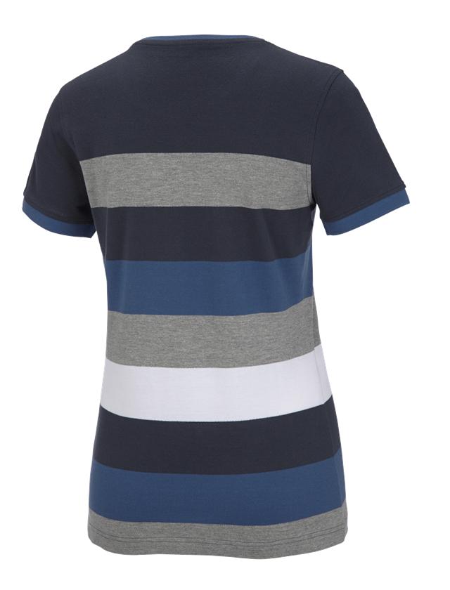 Bovenkleding: e.s. Pique-Shirt  cotton stripe, dames + pacific/kobalt 1