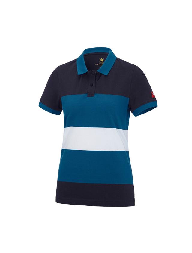 Bovenkleding: e.s. Pique-Polo cotton stripe, dames + donkerblauw/atoll