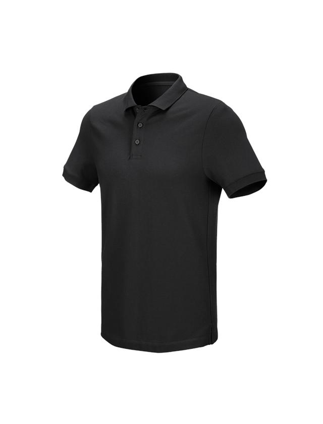 Bovenkleding: e.s. Pique-Polo cotton stretch + zwart
