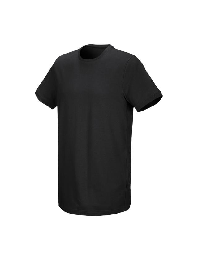 Bovenkleding: e.s. T-Shirt cotton stretch, long fit + zwart