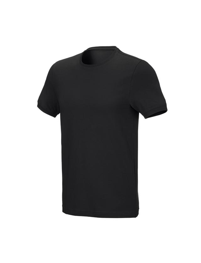 Bovenkleding: e.s. T-Shirt cotton stretch, slim fit + zwart