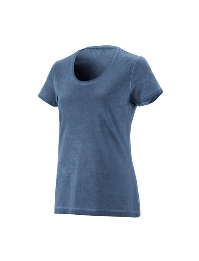 Bovenkleding: e.s. T-Shirt vintage cotton stretch, dames + antiek blauw vintage