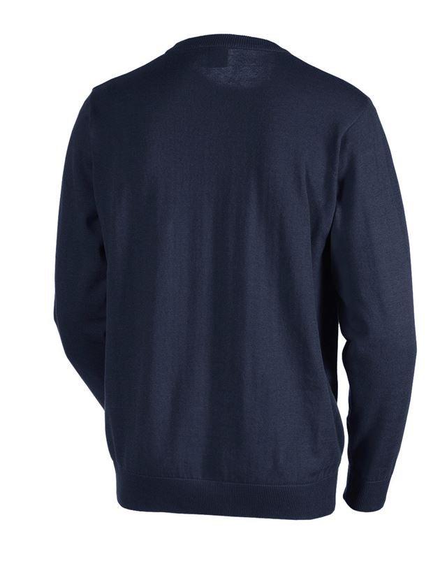 Bovenkleding: e.s. Gebreide pullover, ronde hals + donkerblauw 1