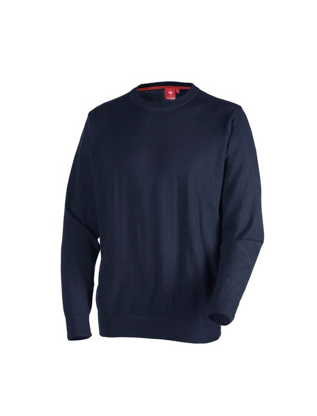 Bovenkleding: e.s. Gebreide pullover, ronde hals + donkerblauw