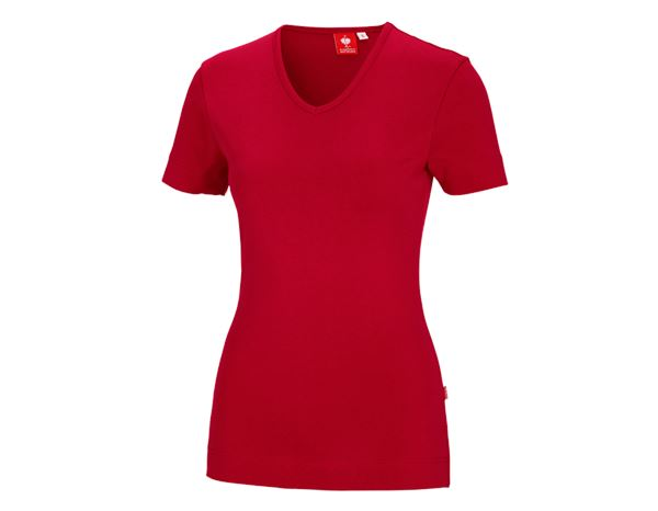 Bovenkleding: e.s. T-Shirt cotton V-Neck, dames + vuurrood