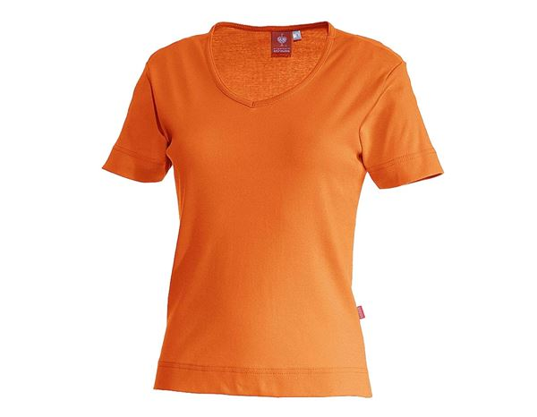 Bovenkleding: e.s. T-Shirt cotton V-Neck, dames + oranje