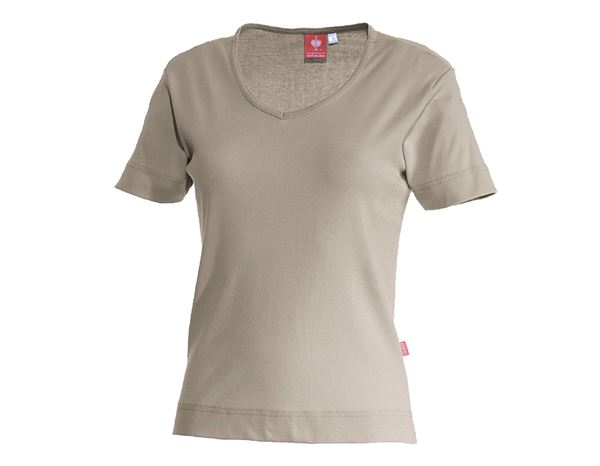 Bovenkleding: e.s. T-Shirt cotton V-Neck, dames + leem