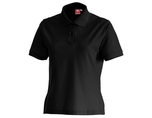 Bovenkleding: e.s. Polo-Shirt cotton, dames + zwart
