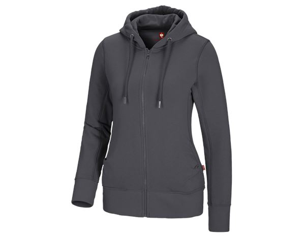 Bovenkleding: e.s. Hoody-Sweatjack poly cotton, dames + antraciet