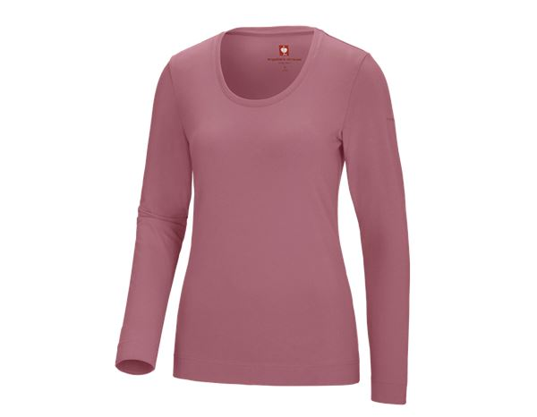 Bovenkleding: e.s. Longsleeve cotton stretch, dames + oudroze