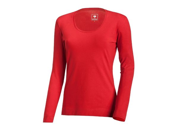 Bovenkleding: e.s. Longsleeve cotton stretch, dames + vuurrood