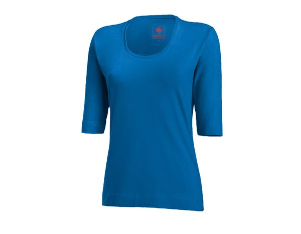 Bovenkleding: e.s. Shirt 3/4-mouw cotton stretch, dames + gentiaanblauw
