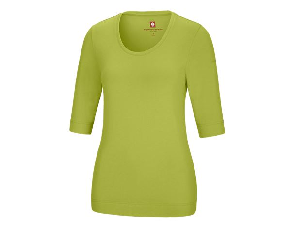 Bovenkleding: e.s. Shirt 3/4-mouw cotton stretch, dames + meigroen