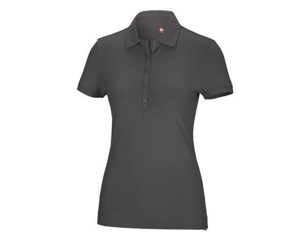 Bovenkleding: e.s. Polo-Shirt cotton stretch, dames + antraciet