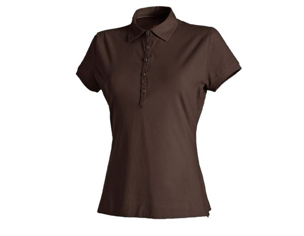 Bovenkleding: e.s. Polo-Shirt cotton stretch, dames + kastanje