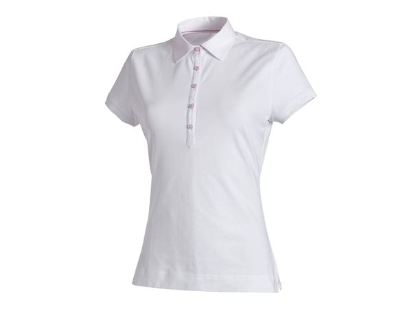 Bovenkleding: e.s. Polo-Shirt cotton stretch, dames + wit