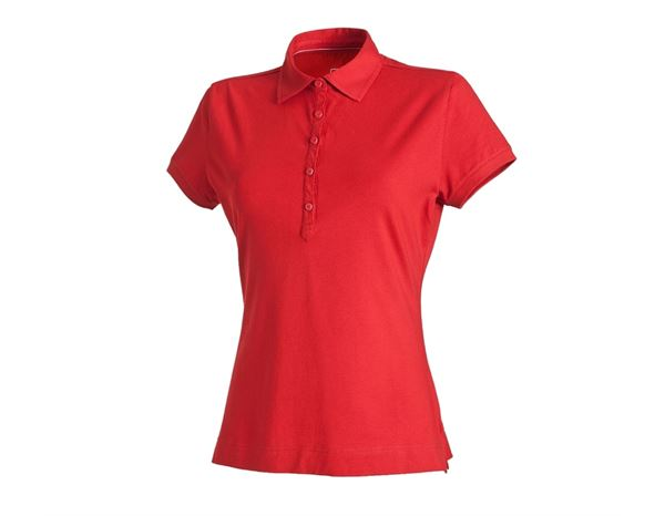 Bovenkleding: e.s. Polo-Shirt cotton stretch, dames + vuurrood