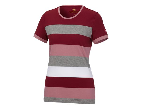 Bovenkleding: e.s. Pique-Shirt  cotton stripe, dames + robijn/oudroze