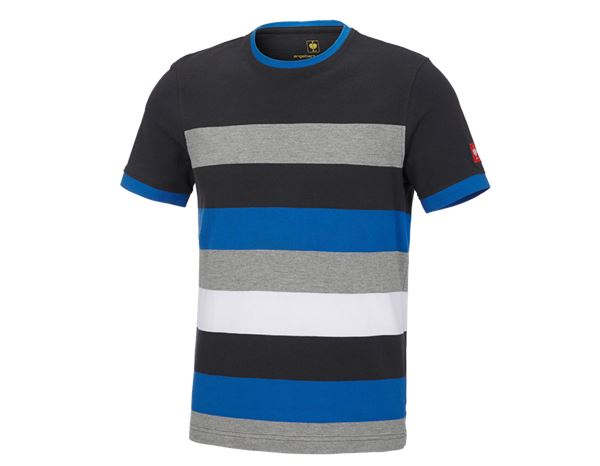 Bovenkleding: e.s. Pique-Shirt cotton stripe + grafiet/gentiaanblauw