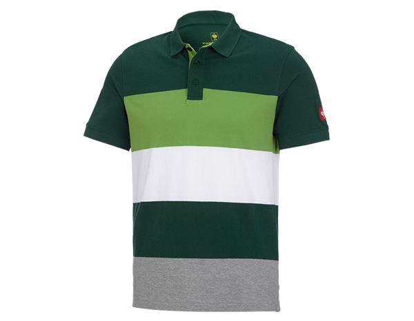 Poloshirts: e.s. Pique-Polo cotton stripe + groen/zeegroen