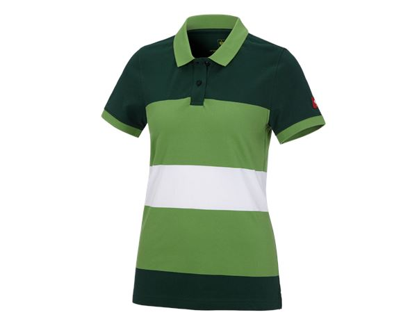 Bovenkleding: e.s. Pique-Polo cotton stripe, dames + groen/zeegroen