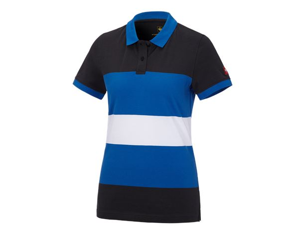 Bovenkleding: e.s. Pique-Polo cotton stripe, dames + grafiet/gentiaanblauw