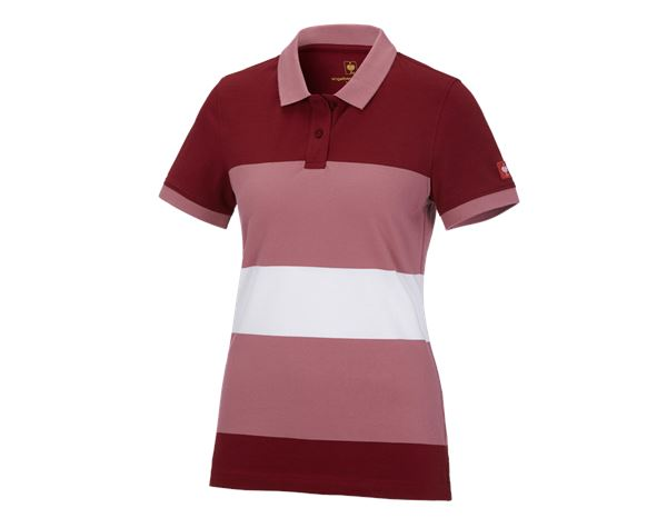 Bovenkleding: e.s. Pique-Polo cotton stripe, dames + robijn/oudroze