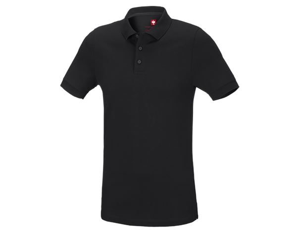 Bovenkleding: e.s. Pique-Polo cotton stretch, slim fit + zwart