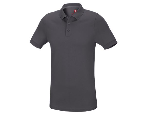 Poloshirts: e.s. Pique-Polo cotton stretch, slim fit + antraciet