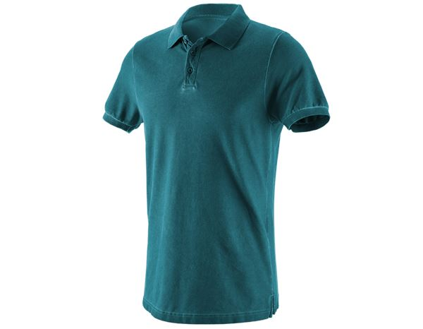 Poloshirts: e.s. Polo-Shirt vintage cotton stretch + donker cyaan vintage